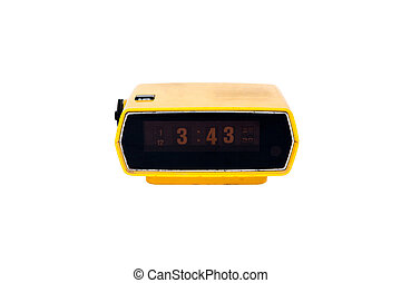 Old yellow digital clock