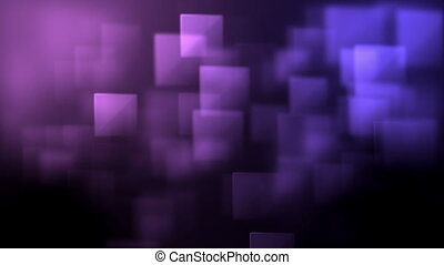 Pink and purple squares appearing against a black background