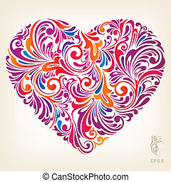 Ornamental Colored Heart Pattern - Floral Ornament Heart...