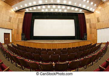 at the movies - Empty cinema auditorium White screen is...
