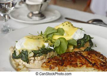 Hashbrown Potatoes and Eggs Florentine Benedict - Eggs...