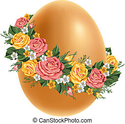 Vintage Easter egg - Easter egg in a wreath of flowers...