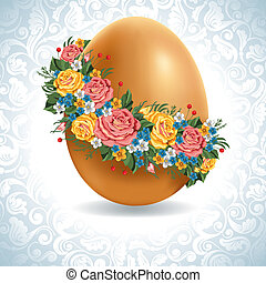 Vintage Easter egg - Easter egg in a wreath of flowers....