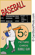 retro baseball card - old baseball card with batter image in...