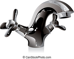 metal water tap on a white background