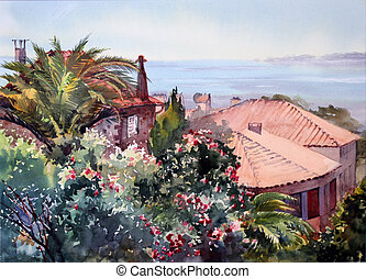 Watercolor painting of the building in St. Tropez, Cote...