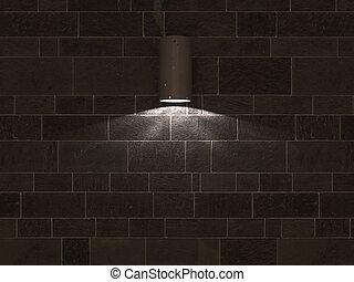 spotlight on black tiles wall