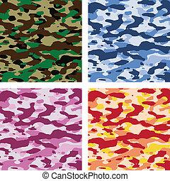 vetorial, coloridos, camuflagem, padrões
