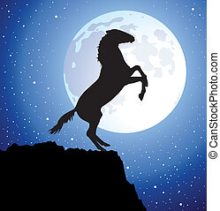 vector horse on top of the mountain and a moon - vector...