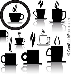 vector set of coffee and tea cup icons and symbols