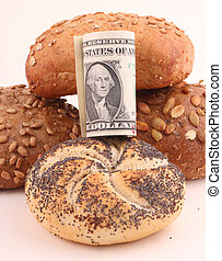 bread rolls - Bread rolls with a bundle of one-dollar bills