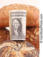 bread rolls - Bread rolls with a bundle of one-dollar bills