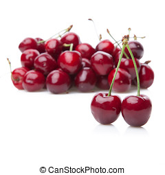 Fresh cherries isolated on white. - Fresh cherries isolated...
