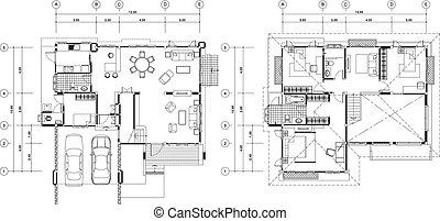 Print - house plan vector