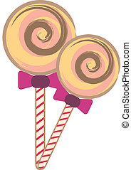 Lollipop candy on white background,