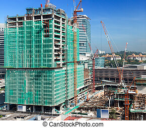 Modern building constraction site works