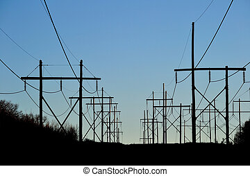 Overhead Power Lines - The contrast between the power poles...