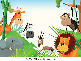 Wild Animals Postcard Background - Illustration of cute...