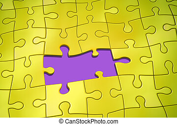 jigsaw puzzle - An image of a yellow jigsaw puzzle