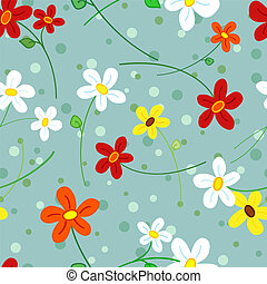 Seamless daisy flowers pattern