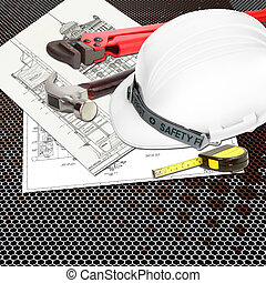 White Helmet of inspectors or engineer constructor with...
