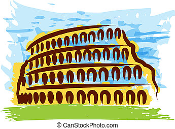 Colosseum - hand-drawn abstract Italian achitecture with...