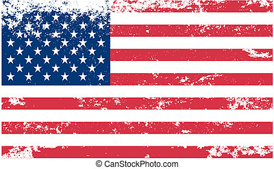 American flag with grunge