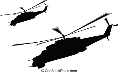 Helicopter - Flying mi-24 (Hind) helicopters silhouette....