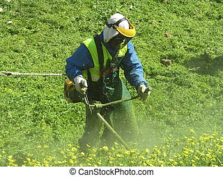 String trimmer - Man working with brush cutter in the field.