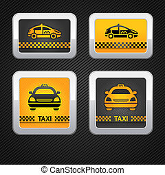 Taxi cab set buttons on corduroy background, vector 10eps