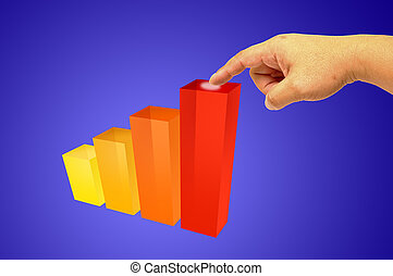 Graph - Hand holding - Colorful increasing bar graph - Hand...