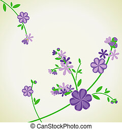 abstract vector blue flowers on light green backdrop