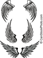 wings set - Vector illustration wings set