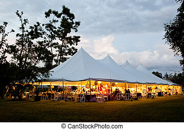 Wedding tent - a wedding tent in the evening with clouds...