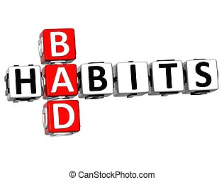 3D Bad Habits Crossword text on white background