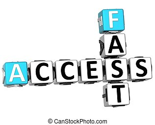 3D Access Fast Crossword text on white background