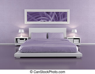 Lilac bedroom - minimalist lilac bedroom - rendering - the...