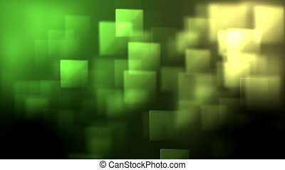 Green and yellow squares appearing against a black...