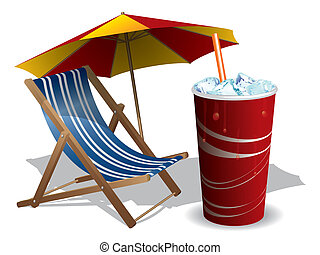 Beach chair with umbrella and drink