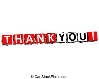3D Thank You Cube text on white background