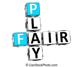 3D Fair Play Crossword text on white background