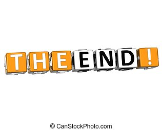 3D The End Cube text