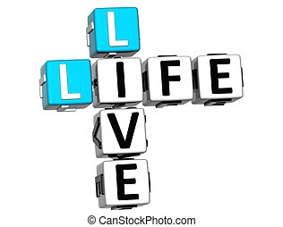 3D Live Life Crossword text on white background