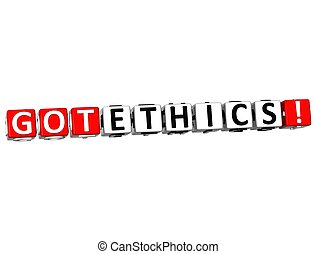 3D Got Ethics Cube text on white background