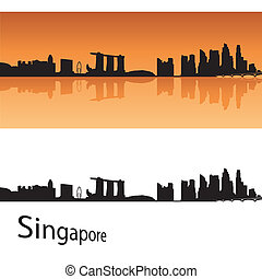 Singapore skyline in orange background in editable vector...