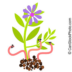 Worms and flower - Funny worms and flower growing in soil....