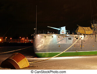 Famous cruiser Aurora at night Cruiser is a symbol of the...