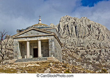 Stone church on Velebit mountain near Tulove grede, Croatia