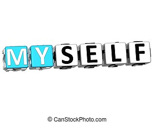 3D Believe in Myself text on white background