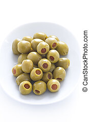 stuffed green olives - pitted stuffed green olives with...